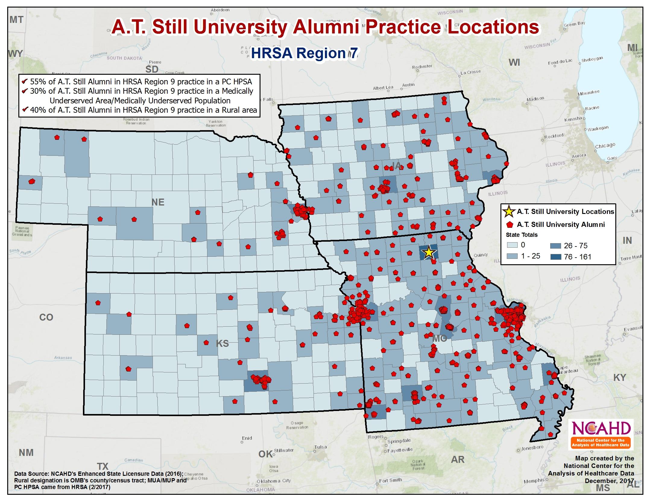 AT Still National Alumni Pracitce Locations HRSA Region 7